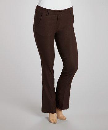 Brown Slim Bootcut Pants - Plus