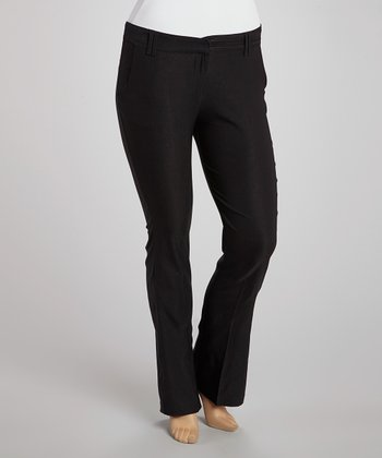 Black Slim Bootcut Pants - Plus