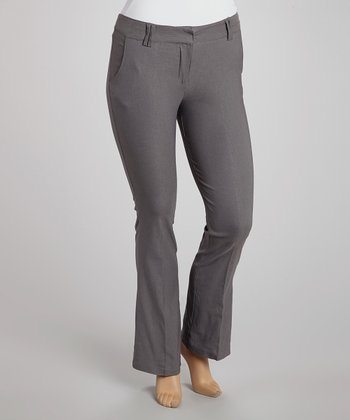 Gray Slim Bootcut Pants - Plus