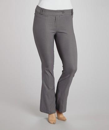 Gray Button-Tab Slim-Leg Pants - Plus