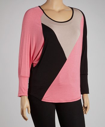 Nude & Pink Color Block Long-Sleeve Top - Plus