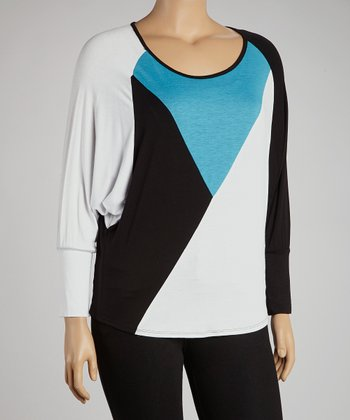 Turquoise & White Color Block Long-Sleeve Top - Plus