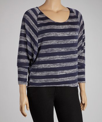 Navy Stripe Dolman Hi-Low Top - Plus