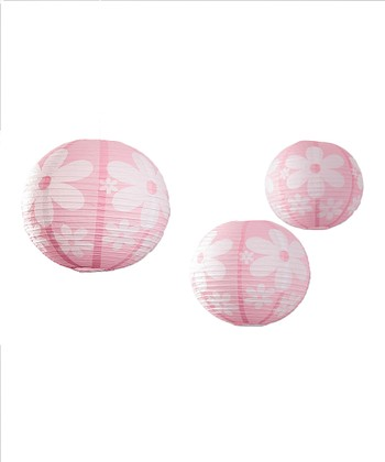 Light Pink Daisy Lantern - Set of Three