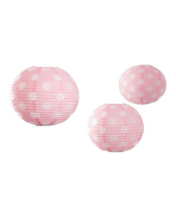 Light Pink Polka Dot Lantern - Set of Three