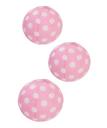Hot Pink Polka Dot Lantern - Set of Three