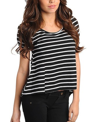 Black & White Stripe Scoop Neck Top