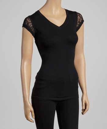 Black Sheer Lace-Back V-Neck Top