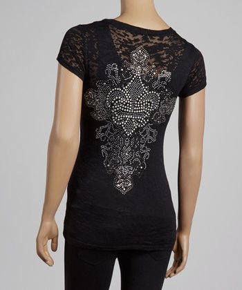 Black & Silver Baroque Fleur-de-Lis Burnout Top