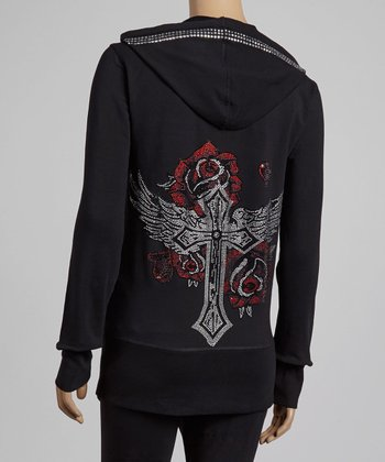 Black & Red Rhinestone Rose Zip-Up Hoodie & Lounge Pants