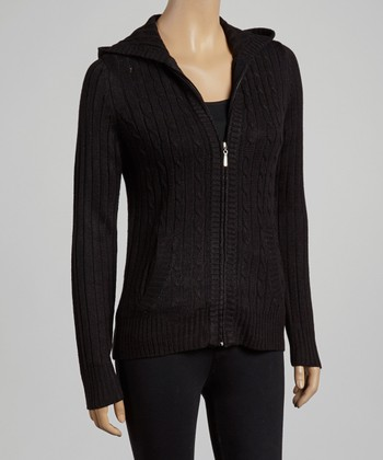 Black Cable-Knit Zip-Up Hoodie