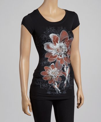 Black & Coral Rhinestone Poppy Top