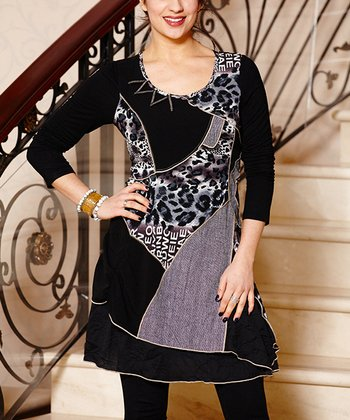 Black & Silver Leopard Patchwork Dress
