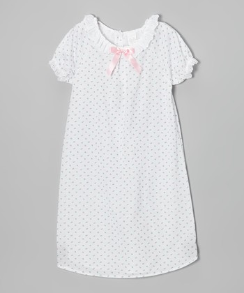 White & Pink Short-Sleeve Nightgown - Girls