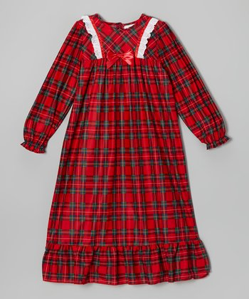 Red Plaid Flannel Nightgown - Girls