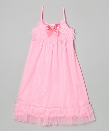 Pink Bow Ruffle Nightgown - Girls