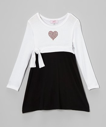 Black & White Studded Heart Empire-Waist Dress - Toddler & Girls