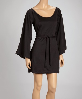 Black Bell-Sleeve Empire-Waist Dress