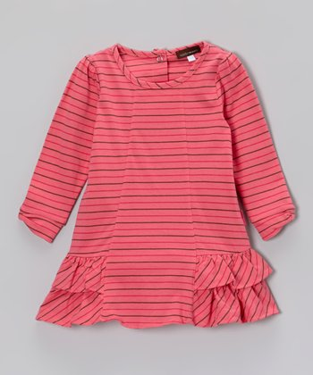 Coral Stripe Ruffle Dress - Girls