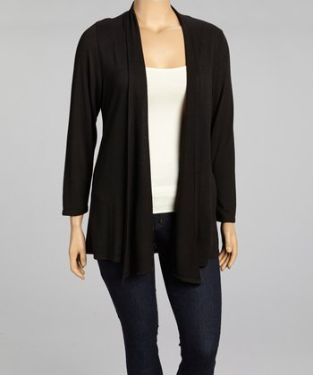 Black Open Cardigan- Plus