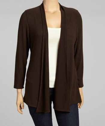 Brown Open Cardigan - Plus
