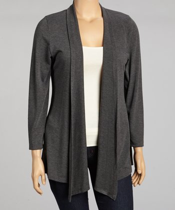 Charcoal Open Cardigan- Plus