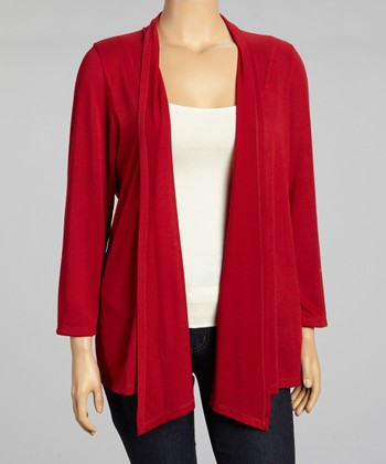 Crimson Open Cardigan - Plus