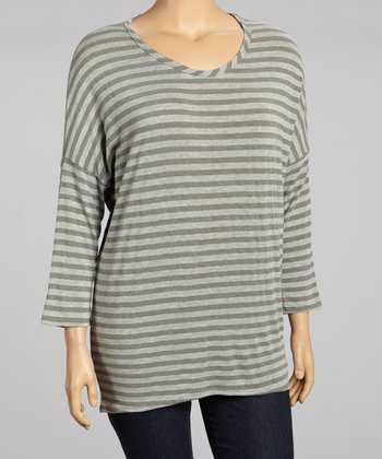 Olive & Gray Stripe Top - Plus