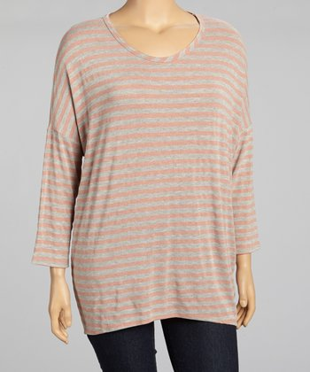 Pink & Gray Stripe Top - Plus
