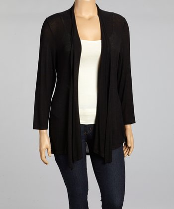 Black Flowing Open Cardigan - Plus