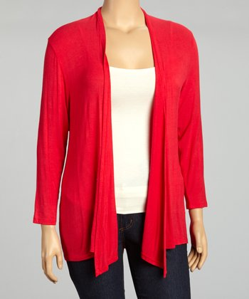 Red Flowing Open Cardigan - Plus