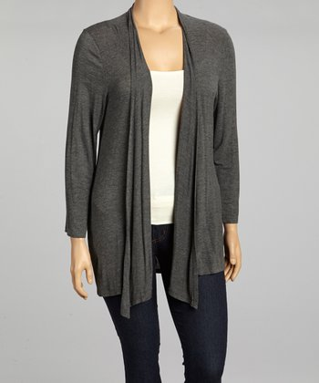 Charcoal Flowing Open Cardigan - Plus
