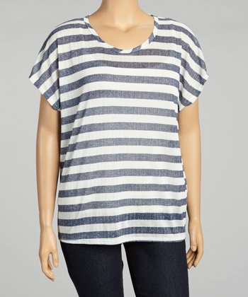 Navy & White Stripe Keyhole Top - Plus