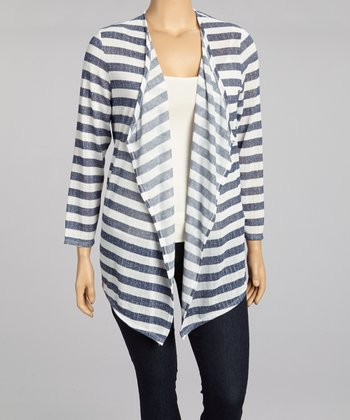 Navy & White Stripe Open Cardigan - Plus