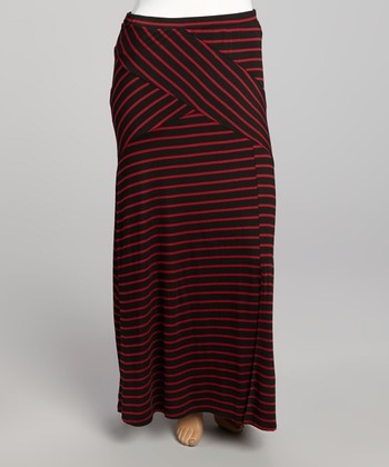 Black & Crimson Maxi Skirt - Plus