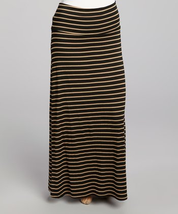 Black & Taupe Stripe Maxi Skirt - Plus