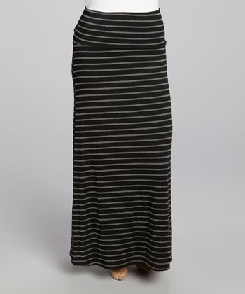 Black & Gray Stripe Maxi Skirt - Plus