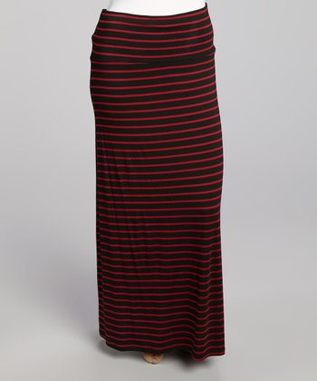 Black & Crimson Stripe Maxi Skirt - Plus