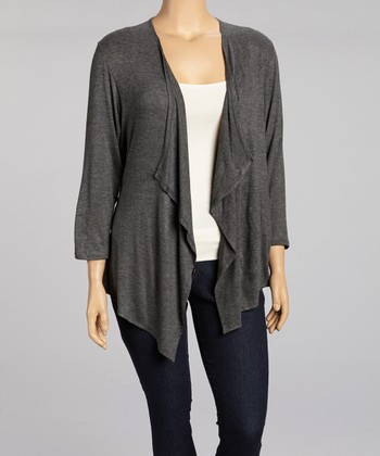 Charcoal Draped Open Cardigan - Plus