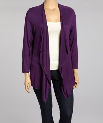 Purple Draped Open Cardigan - Plus