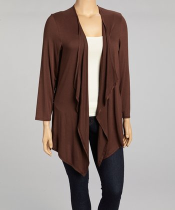 Brown Draped Open Cardigan - Plus