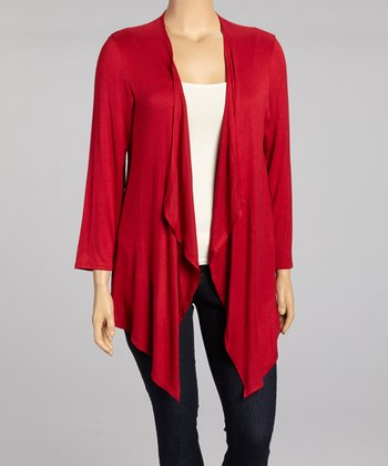 Crimson Draped Open Cardigan - Plus