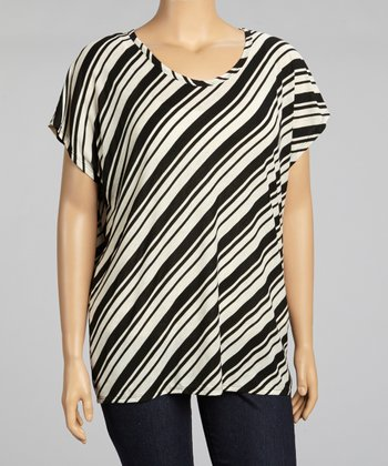 Black Diagonal Stripe Top - Plus