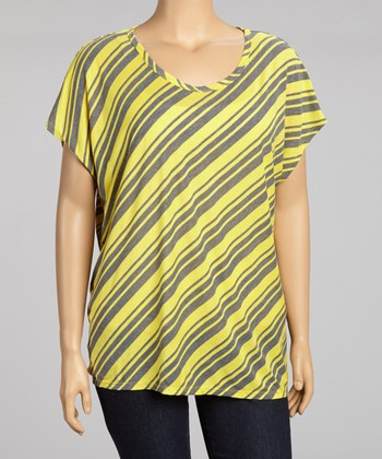 Yellow & Charcoal Diagonal Stripe Top - Plus