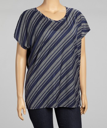 Navy & Charcoal Diagonal Stripe Top - Plus