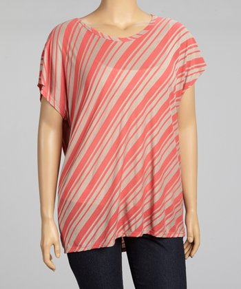 Coral & Taupe Diagonal Stripe Top - Plus