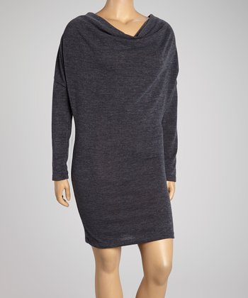Charcoal Drape Neck Sweater Dress