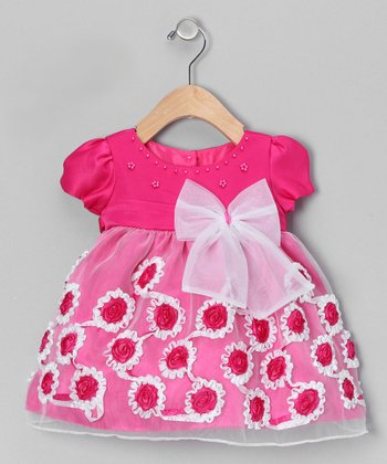Fuchsia Frill Flower Dress - Infant & Toddler