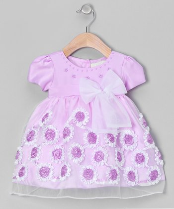 Lilac Frill Flower Dress - Infant & Toddler