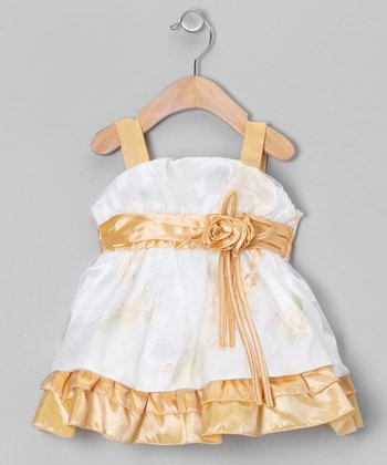 Gold & White Tiered Dress - Infant